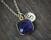 40 OFF SALE Gold Midnight Blue Sunstone Initial Necklace - Personalized Necklace