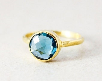 25% OFF London Blue Quartz Ring - Gold or Silver - Stacking Ring, December Birthstone