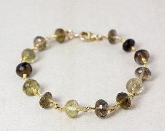 20% OFF Gold Brown Smokey Quartz and Lemon Quartz Bracelet - Light Brown - Gifts for Her