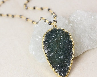 50% OFF Druzy Layering Necklace – Green or Blue-Grey Druzy – Black Pyrite Chain