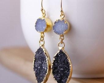 50% OFF Soft Blue Druzy and Black Druzy Leaf Earrings - Drop Earrings - Geode Slice Jewelry