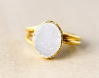 Grey Druzy Ring – Adjustable – Gold Plated
