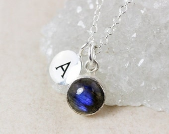 CLEARANCE SALE Silver Blue Labradorite Charm Necklace – Round - Choose Your Stone