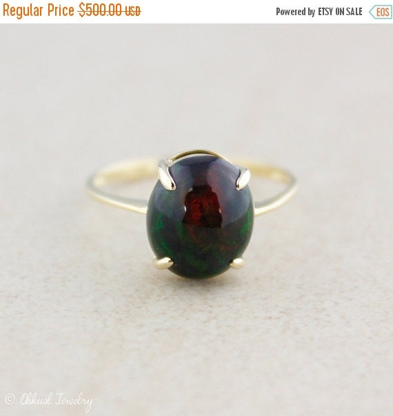 BOXING DAY SALE Black Opal Gemstone Ring