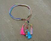 Summer Boho Chic - Beaded Tassel  Bracelet  - Pink/Gold/Yellow Glass Beads - Friendship Stackable Bracelet ~