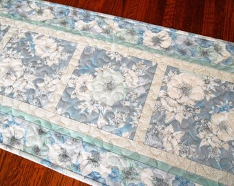 Blue and White Quilted Table Runner, Floral Table Runner, Feminine and Romantic, Cottage Chic Home Decor, Dresser Runner, Bureau Scarf