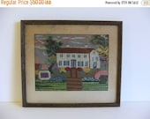 ON SALE Vintage Picture, Wall Art, Antique Needlepoint Wall hanging Framed