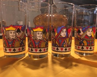 Set of Four Kind and Queen Glasses