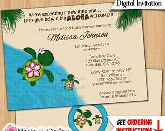 Turtle baby shower invitations HONU sea turtles beach luau girls boys mommy daddy family twins siblings Personalized DIGITAL INVITATION #078