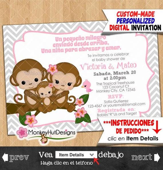 monkey baby shower invitations in spanish pink gray grey chevron girl