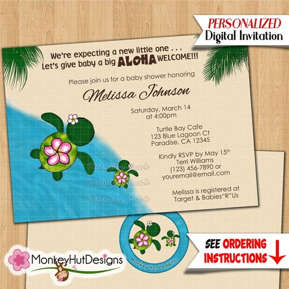 turtle baby shower invitations honu sea turtles beach luau, Baby shower invitations