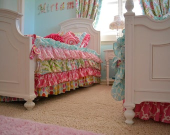 Kumari Garden Teja Pink Twin Comforter, Twin Ruffled Bed Skirt, Gorgeous Girl's Bedding, Twin Bedding by Ritzy Baby, Jeevan Pink, Tarika Gem