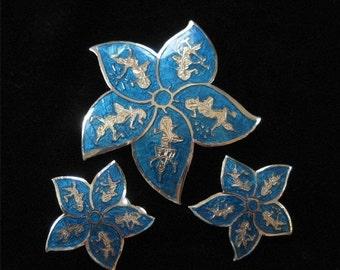 Blue Enamel Siam Sterling Star Brooch and Earring Demi