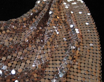 Whiting and Davis Silver Mesh Scarf Bib Necklace, 1970's/1980's Classic