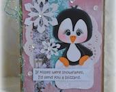 Penguin Winter Christmas Handmade Paper Piecing 3D Greeting Card