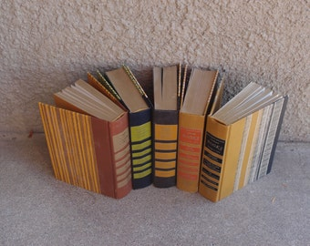 Vintage Hardcover Book Collection Readers Digest Set Five Warm Hues 1970's Home Decor Repurposing Autumn Winter Decorative Cabin Masculine