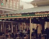 New Orleans Art - Cafe Du Monde Photography Print - French Quarter Photograph - NOLA French Market - Jackson Square Coffee Shop - Louisiana