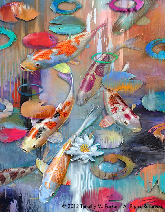 Contemporary koi art koi fish 1 modern painting for Koi fish japanese art