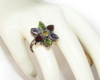 Free Shipping Genuine Multi Gemstones Sterling Silver Big & Bold Star Floral Gorgeous Vintage Ring