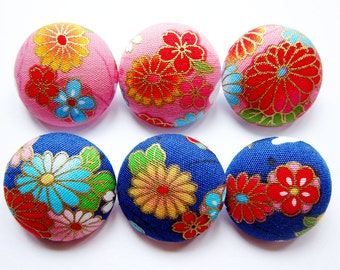 Sewing Buttons / Fabric Buttons - 6 Large Fabric Buttons Set - Oriental Floral