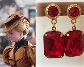 SALE! Edith Cushing Crimson Peak Ruby Red Swarovski Crystal Gold Post Earrings- e663