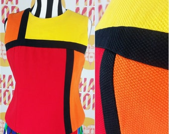 BOLD ICONIC Vintage Late 90s Mod Red, Orange, Yellow Colorblock Top Shirt!