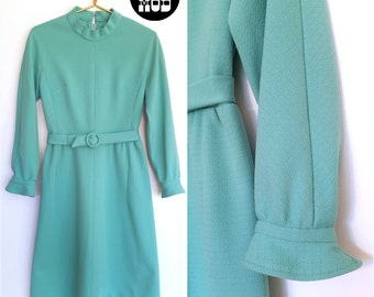 Pretty Minty Green Blue Vintage 60s Mod Scooter Dress with Matching Belt!