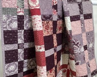 "Throw Quilt Ville Fleurie HANDMADE Patchwork Quilt French General Moda Red, purple, lavender, cream 51x51"""""