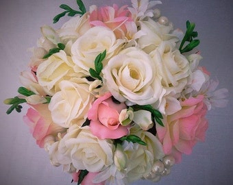 Wedding Bride Bouquet Roses, Cream, Ivory, Baby Pink, Pearls, Freesia,Silk Flowers