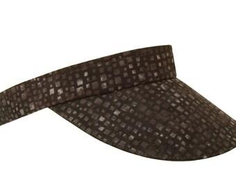 Stepping Stones - Ladies Sports Fashion Visor - Jet Black Charcoal Grey Gray Matrix Mosaic Squares - FREE USA Shipping - Small Medium Large