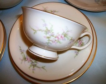 Arcadian China Petite Rose Tea set for 4~ 13 pieces Cottage Chic on sale