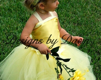 Flower Girl dress. Mini Bride Dress. Custom Made Inspired Belle Dress. Yellow Dress. Sizes 6m-10. Custom sizes and colors available