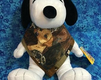 Reversible Stylish Bandana Style Drool Bib With Dogs and A Camouflage Pattern