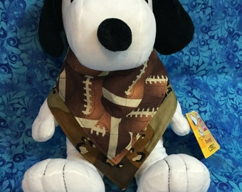 Reversible Bandana Style Drool Bib With Footballs and A Camouflage Pattern