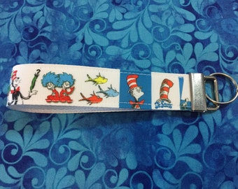 Dr Suess Cat in the Hat Thing 1 Thing 2 Keychain wristlet