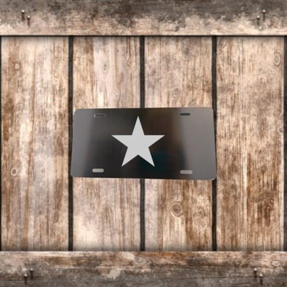 Chrome Star on Black License Plate