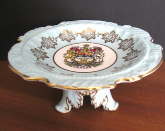 Small Compote/Footed Dish - Version of the Royal Coat of Arms of Canada - Paragon Fine Bone China