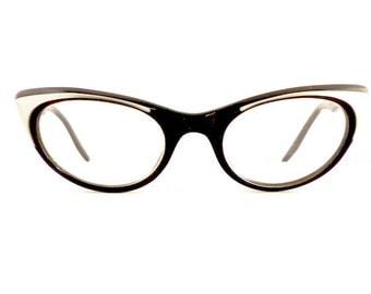50s Daubert Cats Cat Eye Eyeglasses Frames Women's Vintage 1950's Black w Grey Opalescent Detail Made in Italy #M316 DIVINE (EB)