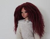 Gorgeous full Burgundy mohair wig for Minifee / MSD