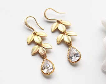 Matte Gold Laurel Leaves Cubic Zirconia Earrings Crystal C Z Wedding Modern Grecian