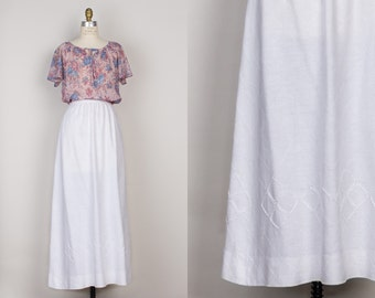 Irish Linen White Maxi Skirt - Vintage 1970s Woven Long Skirt by Pat Crowley Dublin - XS