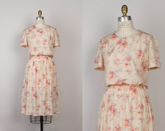 Vintage Watercolor Floral Dress - 1980s Pretty Peach Dress - s / m / l
