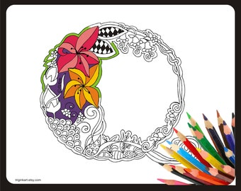 "Letter ""Q"" Lilly style alphabet  Adult coloring page"