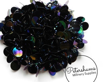 Round Beaded Sequin Circle Motif Fascinator / Hat Trim for Millinery - Black AB