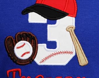 Baseball Birthday Shirt, Boys Baseball Birthday Shirt, Baseball Number, Baseball Bat, Glove, and Mit, Personalized Birthday Shirt, Any Age
