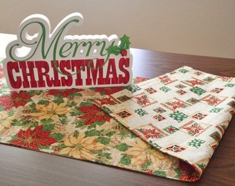 Christmas Table Runner Poinsettia Pinecones Holly Berries Reversible Music Notes Red Green Beige Yellow Gold
