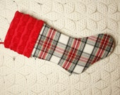 Handsome Grey, Red, and Black Plaid Flannel and Vintage Chenille Heirloom Christmas Stocking