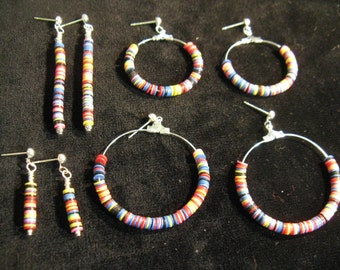206 African recycled vinyl candycane earrings