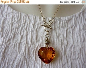 10% sale, Necklace, sterling silver, citrine gemstone heart pendant, womens gift, fine jewelry, handmade quality, classic
