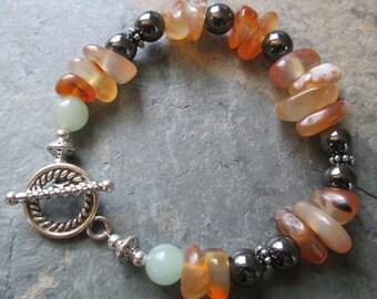Agate, Hematite & Aventurine Bracelet - Bohemian Style Jewelry